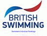 British Swimming logo and link to british swimming individual rankings webpage